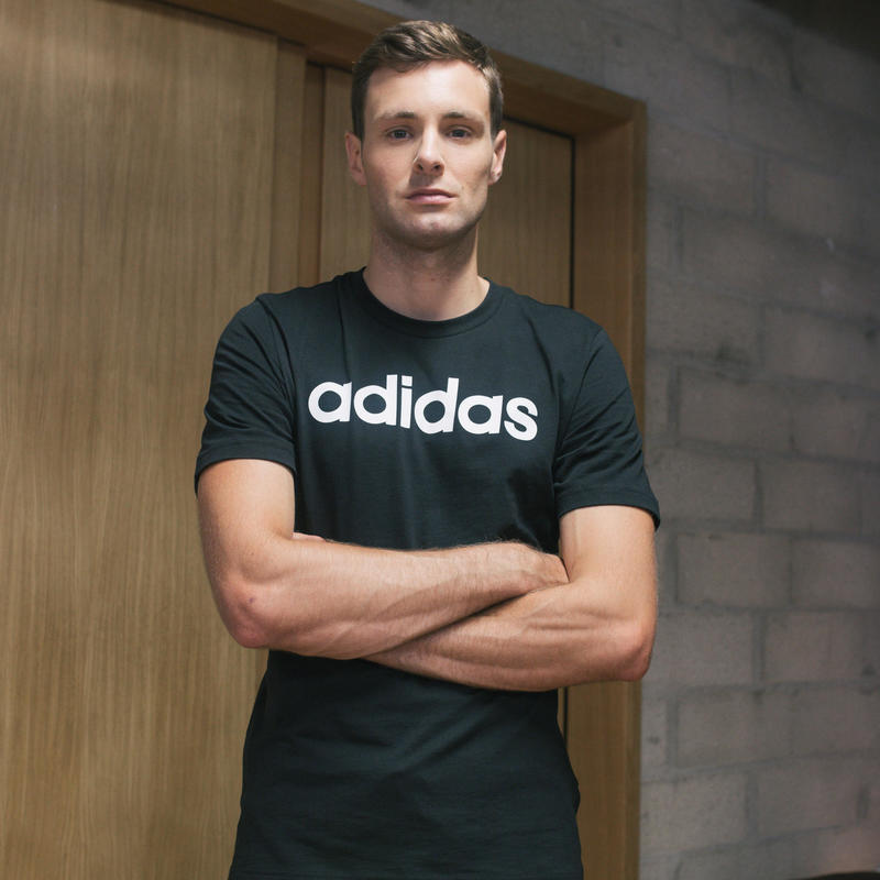 T-shirt voor heren regular fit zwart/opdruk