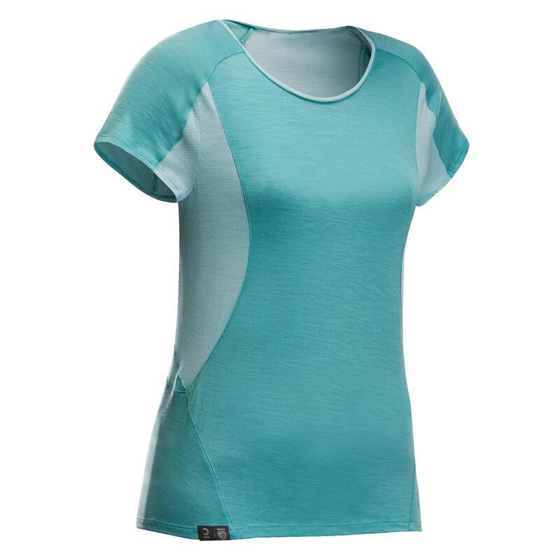 T-shirt en laine mérinos de trek en montagne - TREK 500 turquoise - femme