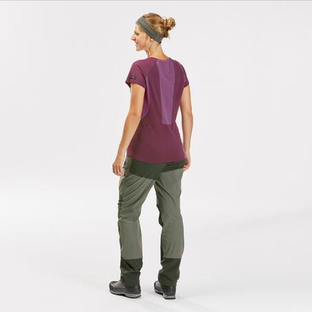 Women's Merino Wool Mountain Trekking T-shirt Trek 500  - Purple