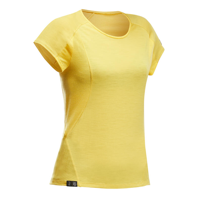 T-shirt en laine mérinos de trek en montagne - TREK 500 jaune - femme