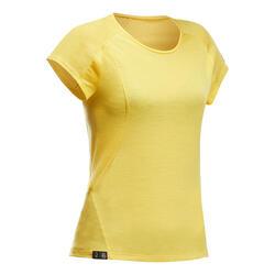 T-shirt lana merinos montagna donna TREK500 WOOL gialla