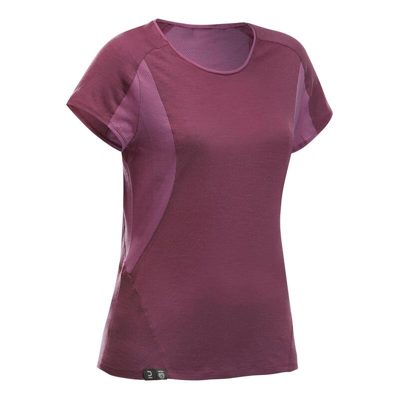 T-shirt de trek manches courtes en laine mérinos - MT500 violet - Femme