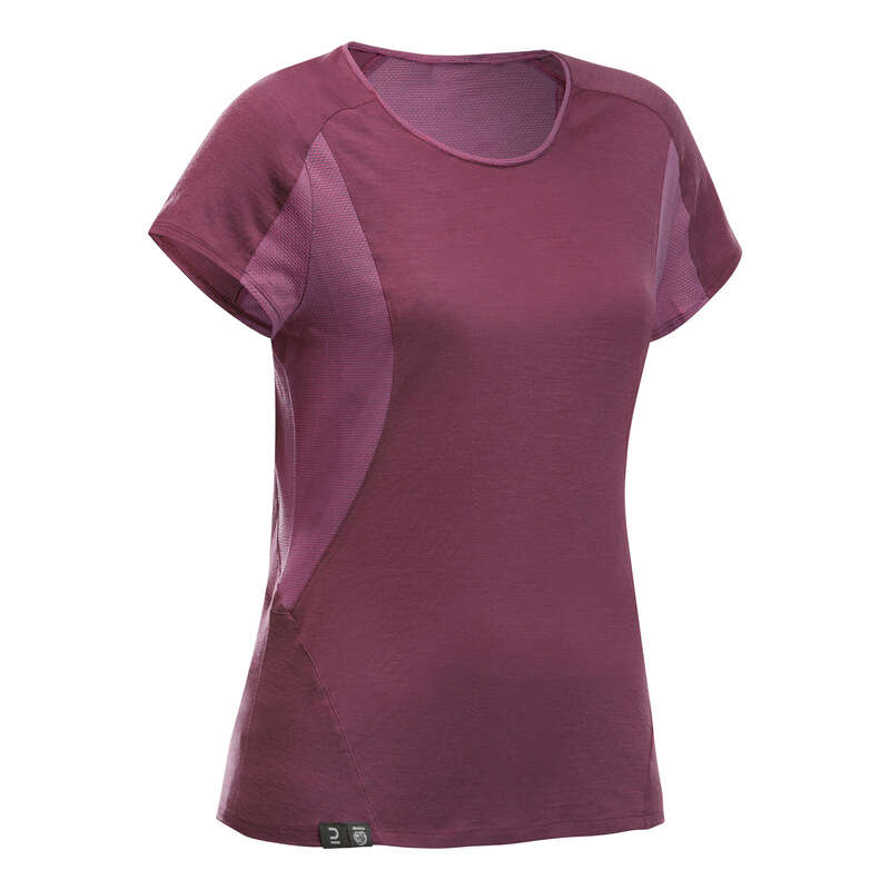 UTRUSTNING TREK. BERG, DAM Vandring - T-shirt merino MT500 dam lila FORCLAZ - Vandringskläder