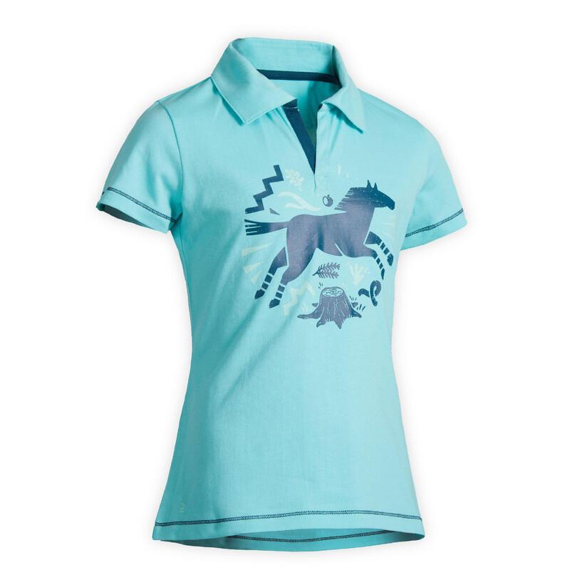 Polo manches courtes équitation 100 turquoise