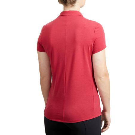 """Trumparankoviai moteriški jojimo polo marškinėliai """"100"""", avietinė"""
