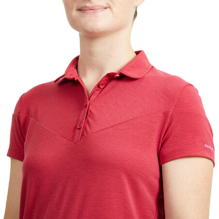 Women's Horse Riding Short-Sleeved Polo Shirt 100 - Raspberry Pink