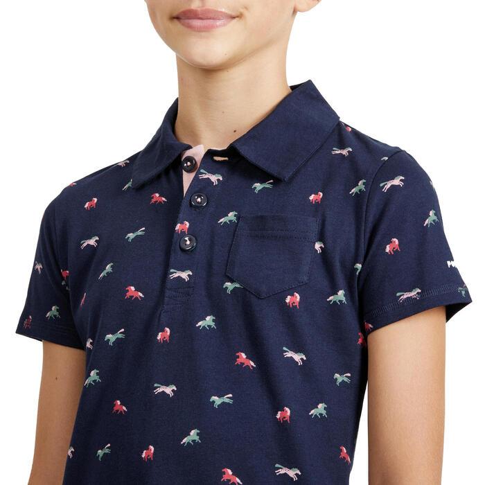 Polo de manga curta equitação menina 140 PONY azul marinho motivos rosa/caqui