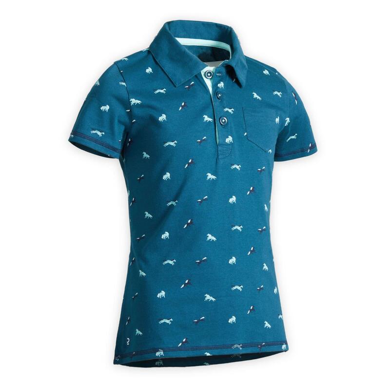 Polo manches courtes équitation fille 140 PONY bleu pétrole motifs turquoise