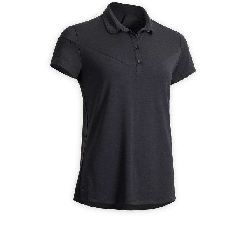 Women's Short-Sleeved Horse Riding Polo Shirt 100 - Black