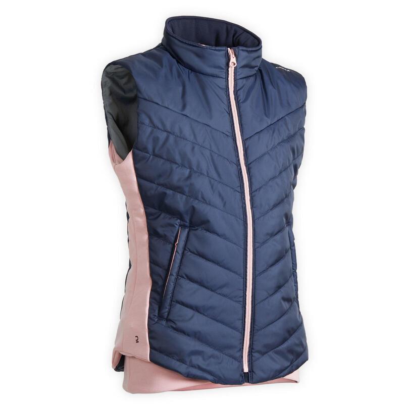 Bodywarmer voor ruitersport voor kinderen 500 marineblauw en roze