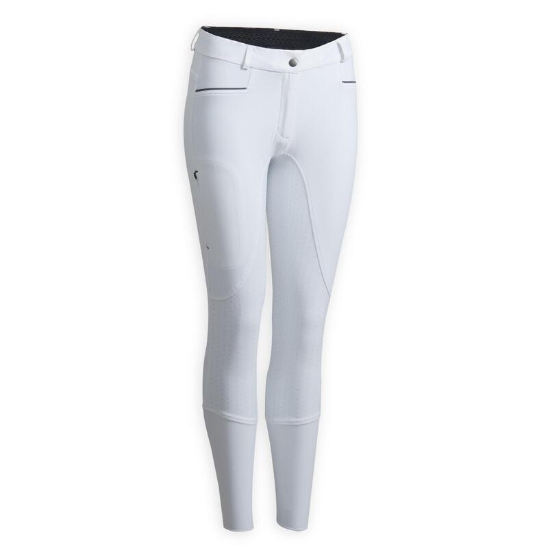 Pantalon concours équitation femme BR580 FULLGRIP assise complète silicone blanc