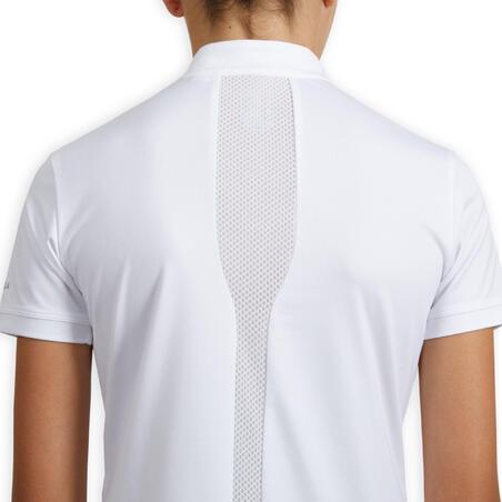 """Mergaičių polo marškinėliai aukšta apykakle """"500"""" pasirodymams, balti"""