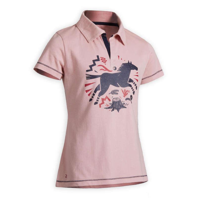 Îmbrăcăminte echitație copii Echitatie - Tricou polo 100 roz FOUGANZA - Echitatie