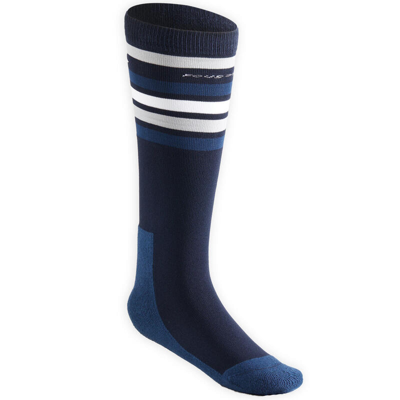 Chaussettes équitation enfant SKS100 marine et bleu nuit/rayures blanches.