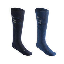 Chaussettes d'équitation enfant SKS 500 motifs Graph bleu nuit et marine