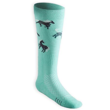"""Vaikiškos jojimo kojinės """"SKS 500"""", benzino žalios, turkio spalvos, su poniais"""