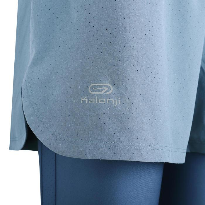 女款跑步2合1短褲/緊身褲RUN DRY+ - 藍色