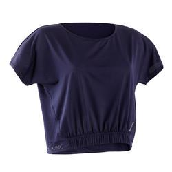 T-shirt voor cardiofitness dames 520 marineblauw