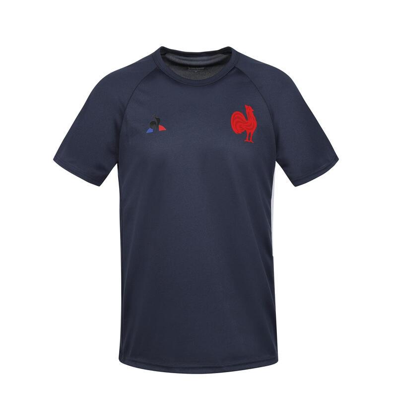 T-shirt manches courtes de rugby entrainement équipe de France adulte bleu