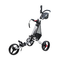 Driewiel golftrolley One Lock zilverkleurig