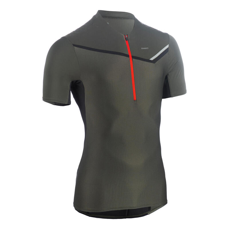 T-shirt voor traillopen heren rits korte mouwen kaki