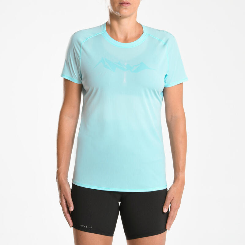 เสื้อยืดวิ่งเทรลแขนสั้นสำหรับผู้หญิง (สีฟ้า)