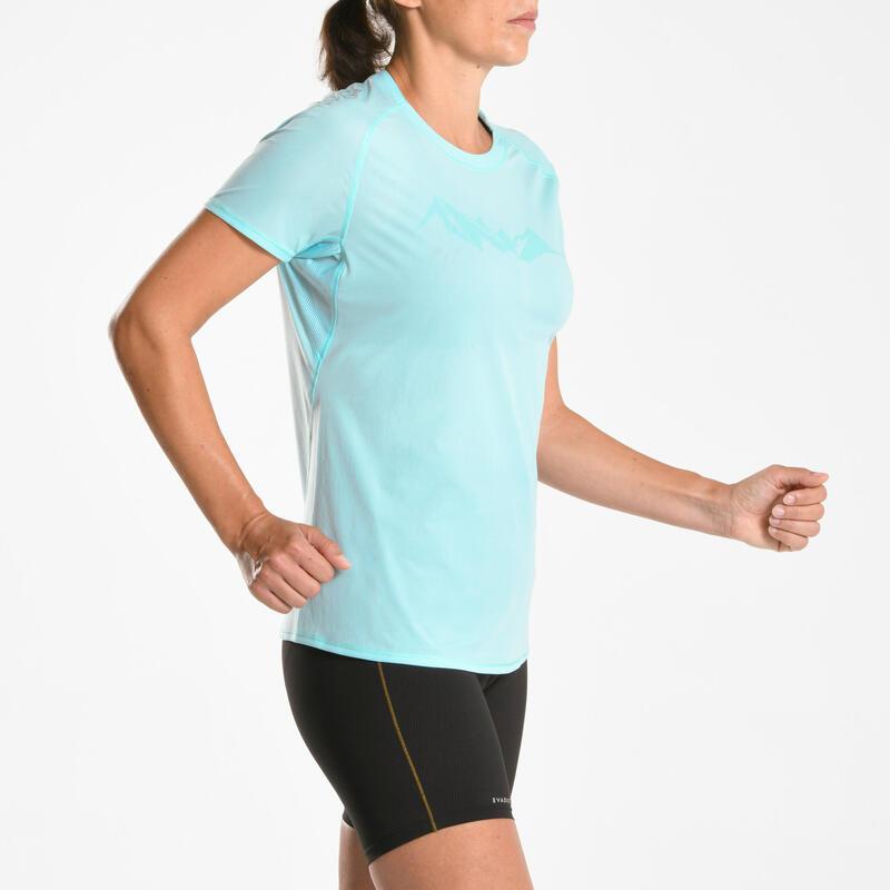 Tee shirt manches courtes trail running Femme bleu