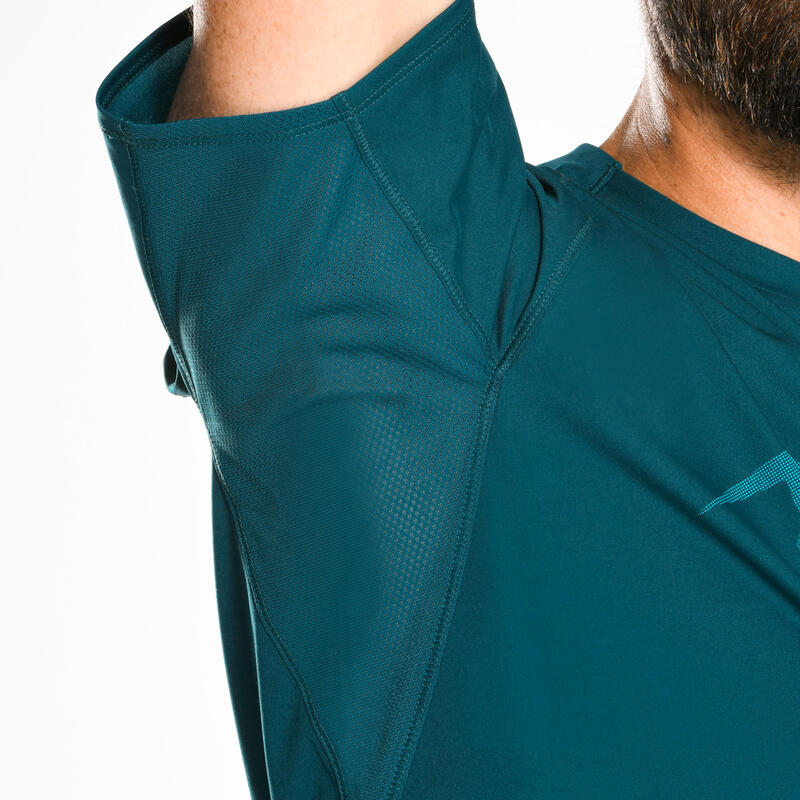 Tee shirt manches courtes trail running homme turquoise