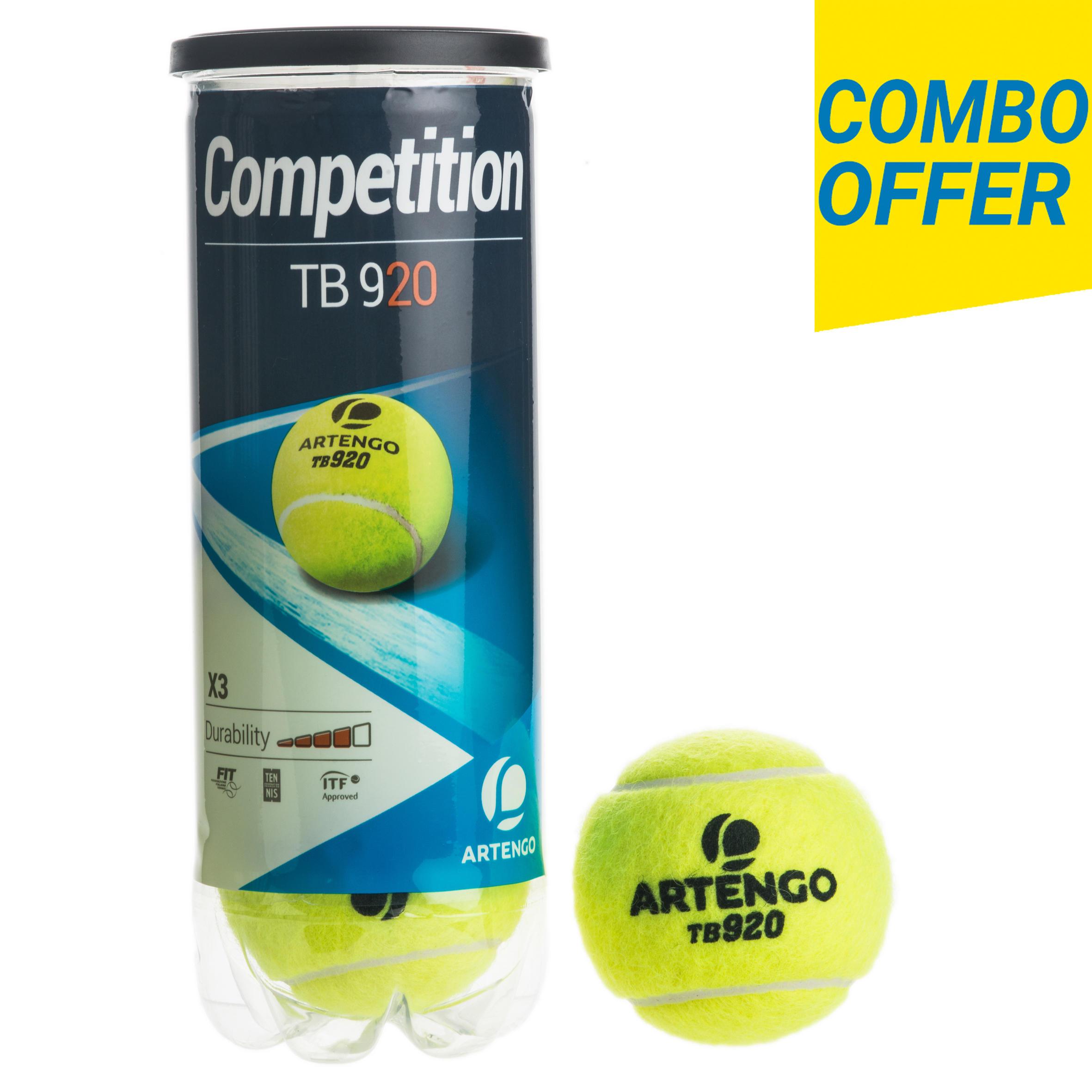 Tennis Ball Tb920 Pack Of 3 Yellow Decathlonb2b