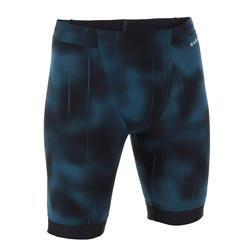 男款及膝泳褲FITI - 黑藍底/橘色側邊條紋