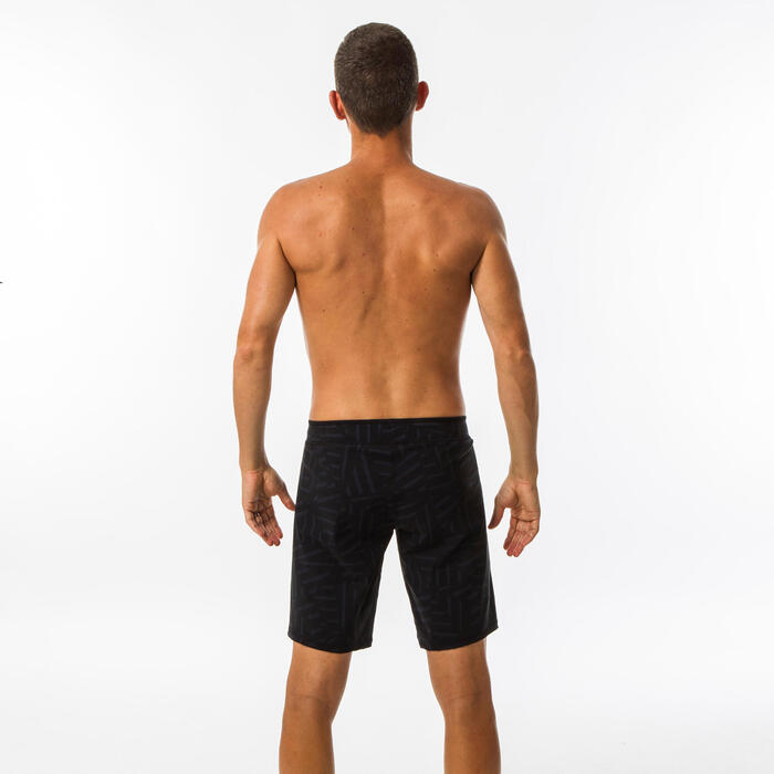 MEN'S LONG SWIMMING SWIM SHORTS NBJI 100 - BLACK BLUE