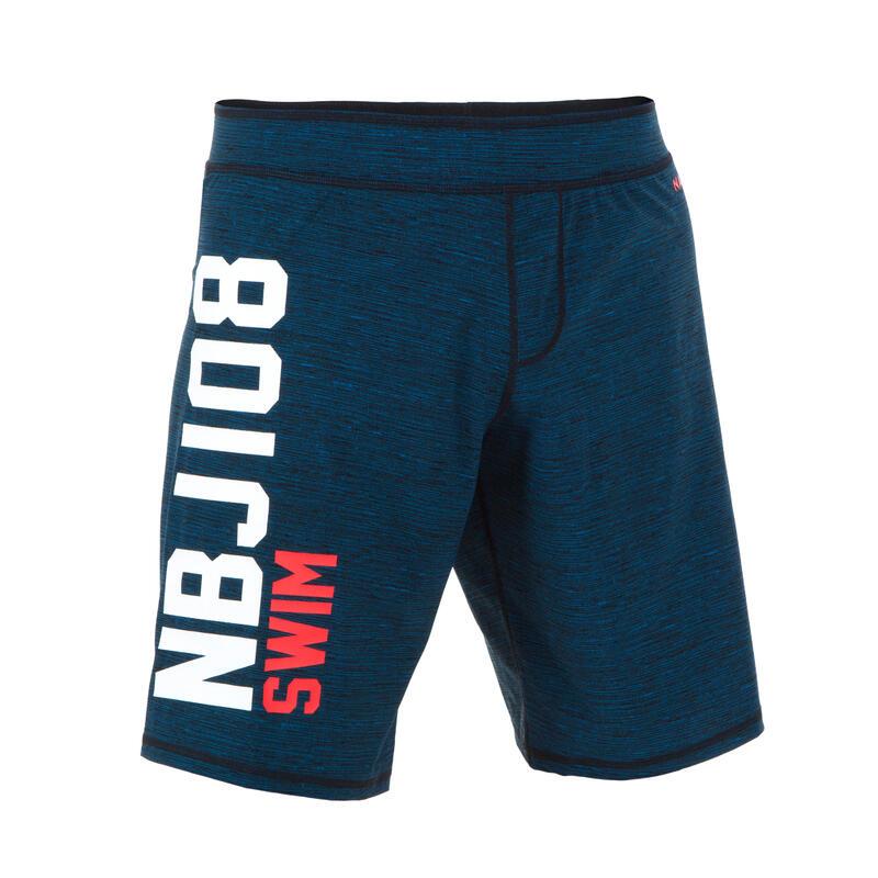 MEN'S LONG SWIMMING SWIM SHORTS NBJI 100 - BLACK RED