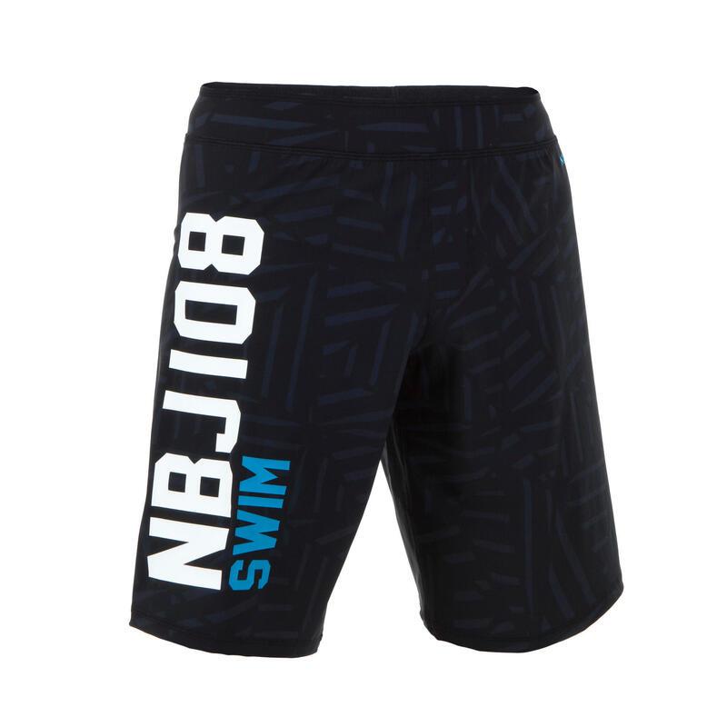 MEN'S LONG SWIMMING SWIM SHORTS NBJI 100 - BLACK BLUE