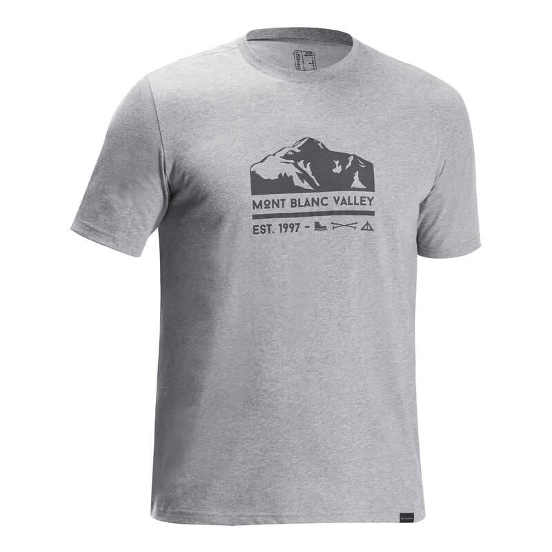 PÁNSKÉ KALHOTY NA NENÁROČNOU TURISTIKU Turistika - Tričko NH 500 šedé QUECHUA - Turistické oblečení