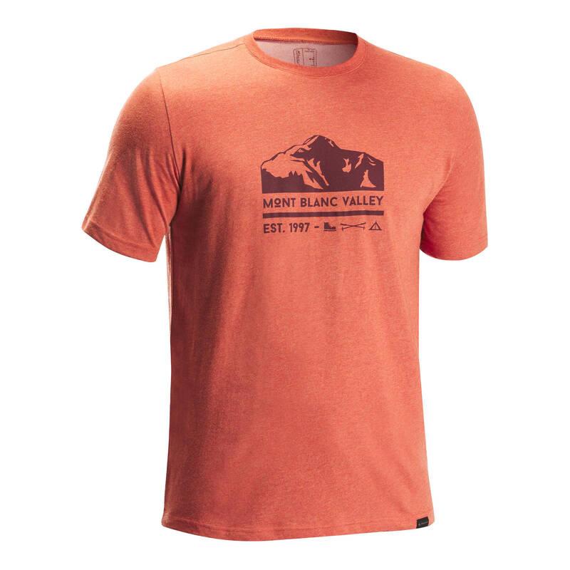 PÁNSKÉ KALHOTY NA NENÁROČNOU TURISTIKU Turistika - Tričko NH 500 oranžové QUECHUA - Turistické oblečení