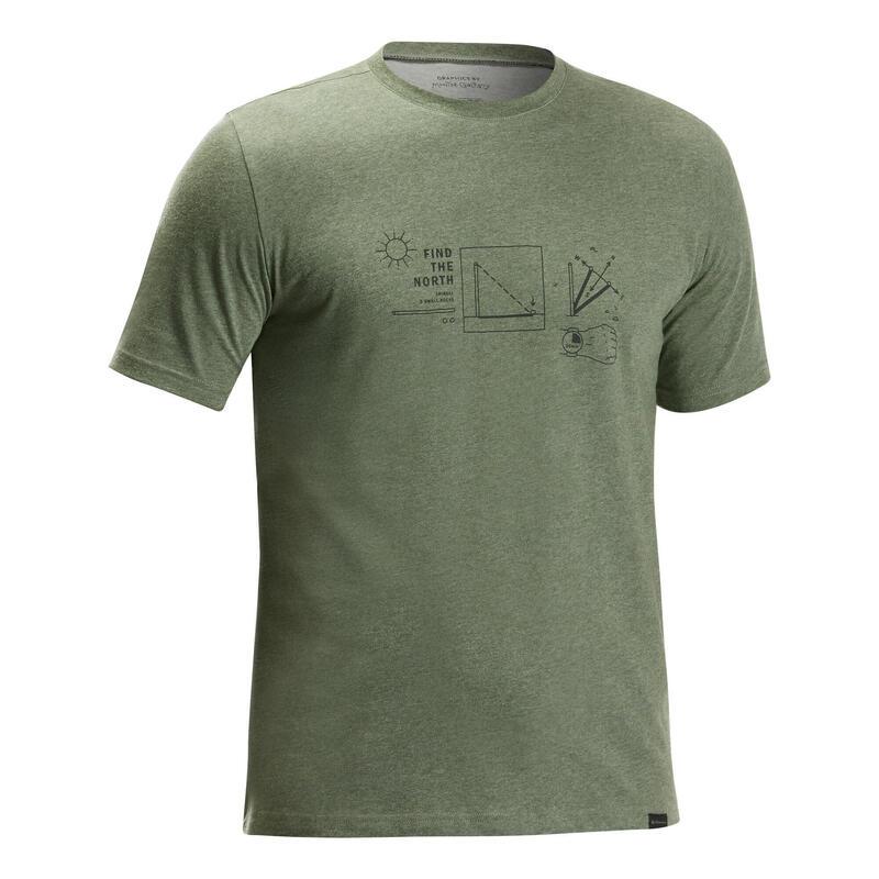 Tricou Drumeție în natură NH500 Kaki Bărbați