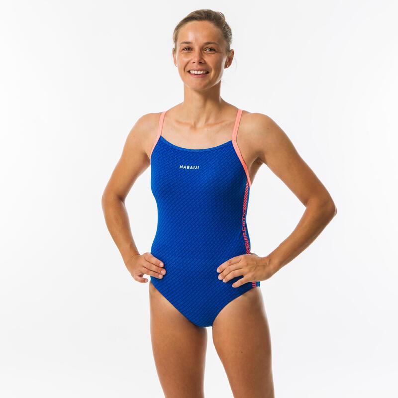 Maillot de bain de natation une pièce femme All Diag bleu clair