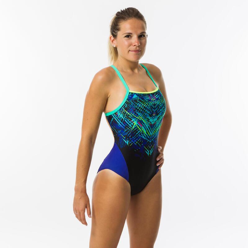 Maillot de bain de natation femme une pièce Lexa mixen vert et bleu