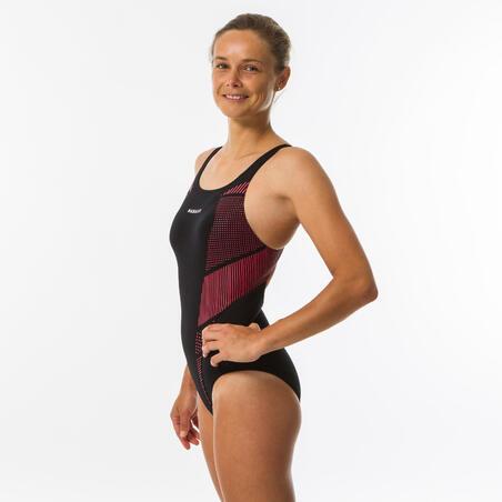 Women's one-piece chlorine-resistant swimsuit Kamiye - Seam pink