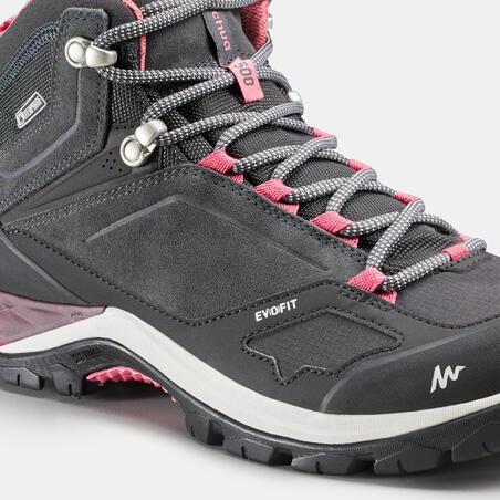 נעלי הרים עמידות למים דגם MH500 Mid לנשים – אפור / ורוד