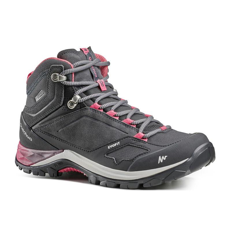 Chaussures imperméables de randonnée montagne - MH500 Mid Gris/Rose - Femme