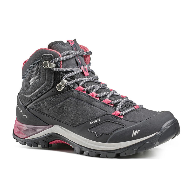 Women's waterproof mountain hiking boots - MH500 Mid - Pink/Grey