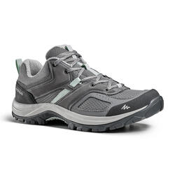MOUNTAIN HIKING SHOES - MH100 - GREY/GREEN - WOMEN