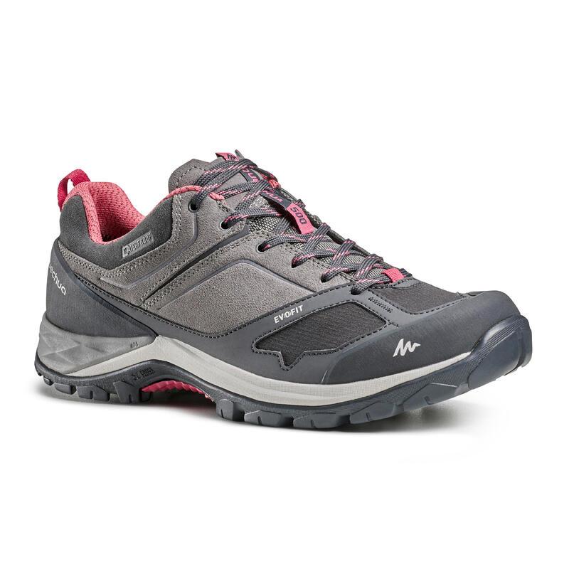 Chaussures imperméables de randonnée montagne - MH500 Gris/Rose- Femme