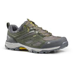 WATERPROOF MOUNTAIN HIKING SHOES - MH100 KHAKI/YELLOW - MEN