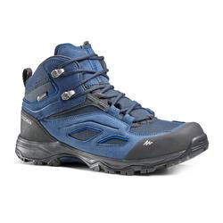 男款防水中筒登山健行鞋-MH100-藍色/黑色