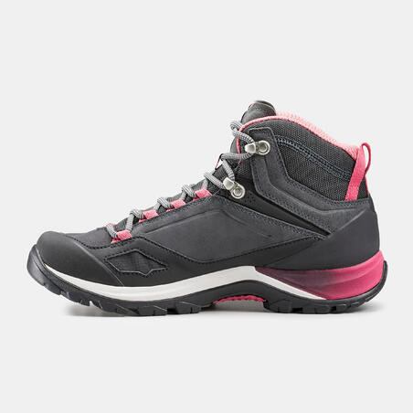 Botas impermeables de senderismo montaña - MH500 Mid Gris/Rosa- Mujer