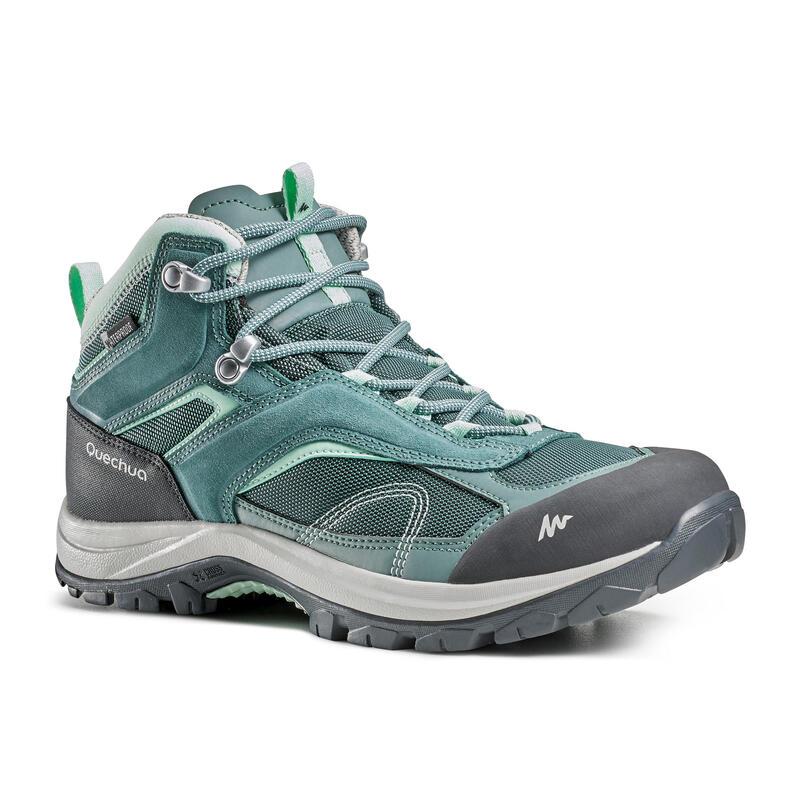 Women's Mountain Walking Waterproof Shoes MH100 Mid - green