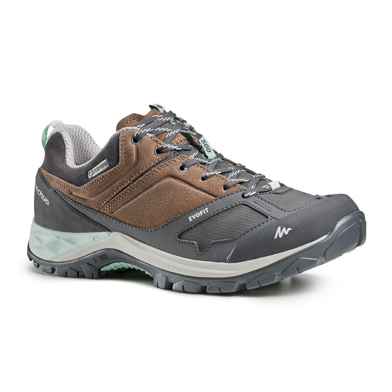 Women's Mountain Walking Waterproof Shoes MH500 - beige/grey