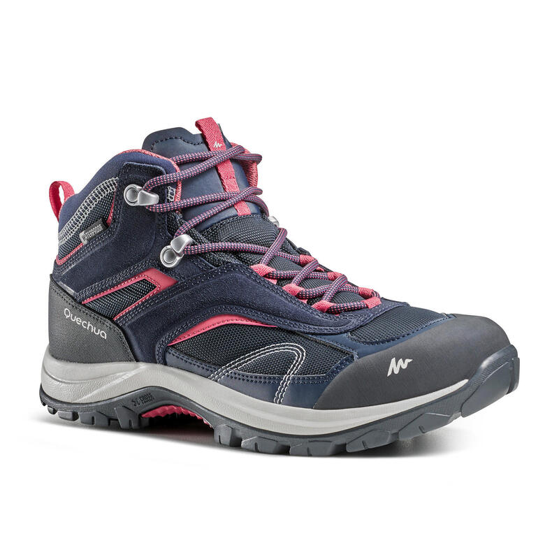 Botas impermeables de senderismo montaña - MH100 Mid Azul/Rosa - Mujer